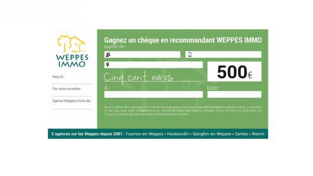 Recevez un chèque de 500 €